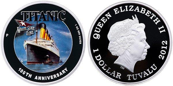 1 доллар «Титаник. 100-летие гибели», Тувалу, 2012 год