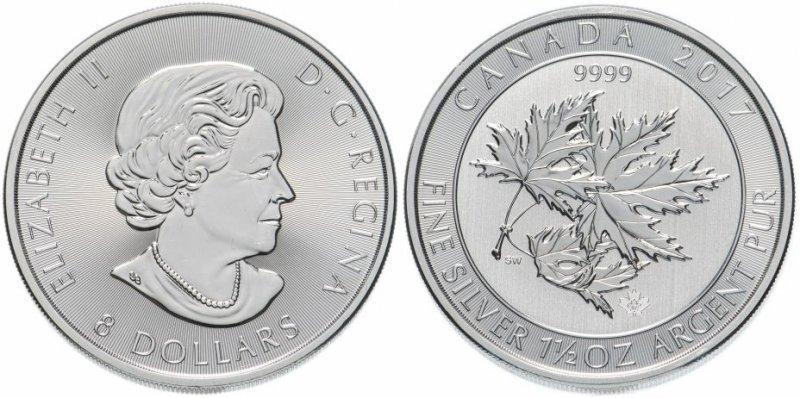 8 долларов Канады с кленовыми листьями