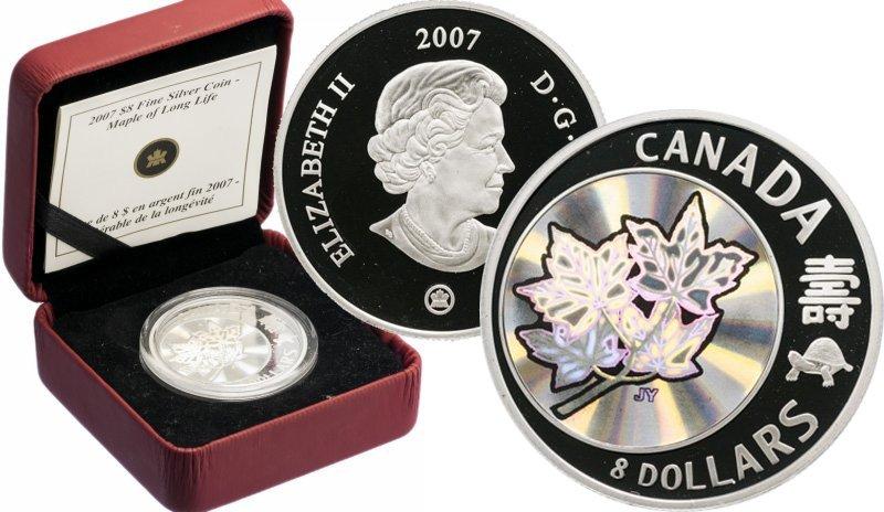 """8 долларов Канады 2007 года """"Maple of Long Life"""""""