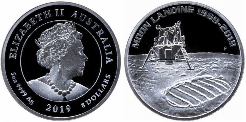 """8 долларов Австралии 2019 года """"50 лет высадки на Луну"""""""