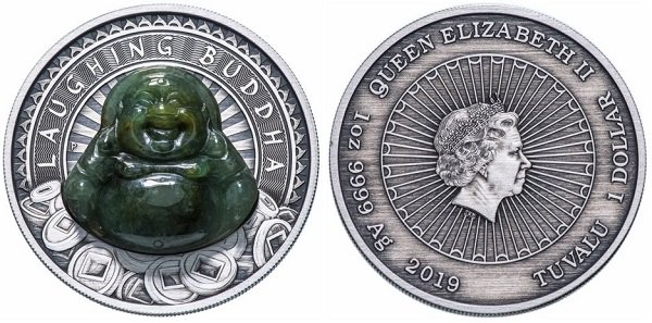 1 доллар «Смеющийся Будда». Тувалу. 2019 год. Серебро, нефрит