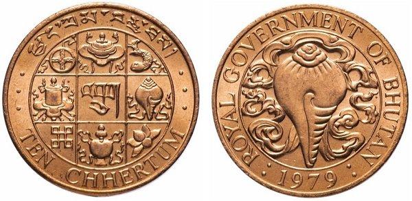 Аштамангала и священная раковина на монете номиналом 10 чертумов. Королевство Бутан. 1979 год. Сталь с медным покрытием
