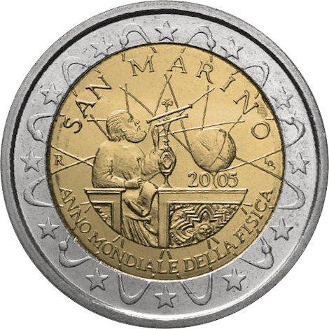2 евро. Сан-Марино. 2005 – Всемирный год физики. Галилео Галилей, который наблюдает за звездами. На столе земной шар. SAN MARINO. ANNO MONDIALE DELLA FISICA (Всемирный год физики). По границам монеты изображение атома