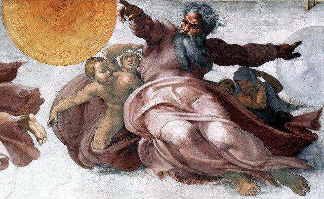 Микеланджело. Сикстинская капелла (Ватикан). Сотврение мира (4 день – светила)