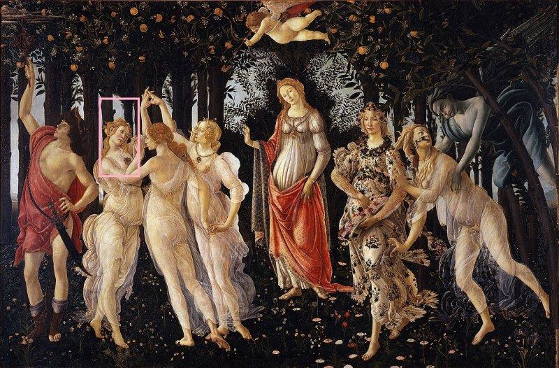 Сандро Боттичелли «Весна» 1482. Выделена Грация Наслаждения, чей портрет был помещен на монету