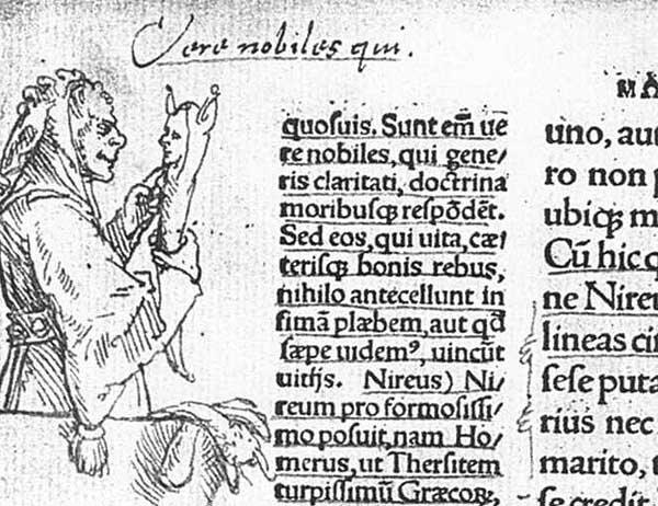 Иллюстрация к изданию 1519 г., выполненная Гансом Гольбейном. Цит.: «В человеческом обществе всё полно глупости, все делается дураками и среди дураков»