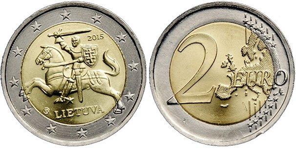 2 евро Литвы. На ней изображен «Витис» — геральдический всадник, который над своей головой держит меч. В руке у него щит с шестиконечным крестом. Название страны на литовском языке — «LIETUVA». Гурт: «LAISVĖ * VIENYBĖ * GEROVĖ *» (СВОБОДА * ЕДИНСТВ О * БЛАГОПОЛУЧИЕ * на литовском)