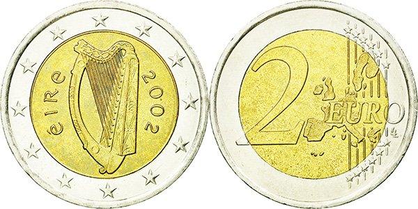 2 евро Ирландии. На нем изображена Clàrsach (Кельтская арфа, национальный символ Ирландии). Слева слово «Éire» (ирл. Ирландия). 2002.  Гурт: «2 ★ ★»