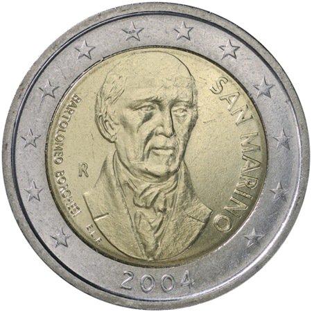 2 евро. Сан-Марино. Бартоломео Боргези. 2004. На монете портрет Б. Боргези. Надпись BARTOLOMEO BORGHESI. SAN MARINO. 2004