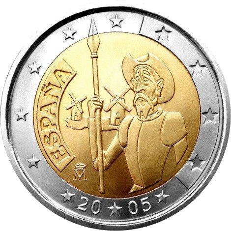 2 евро. Испания. 400-летие первого издания романа «Дон Кихот» Мигеля де Сервантеса. 2005