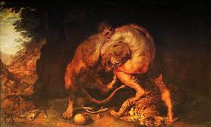 Картина Рубенса «Геракл, душащий Немейского льва»