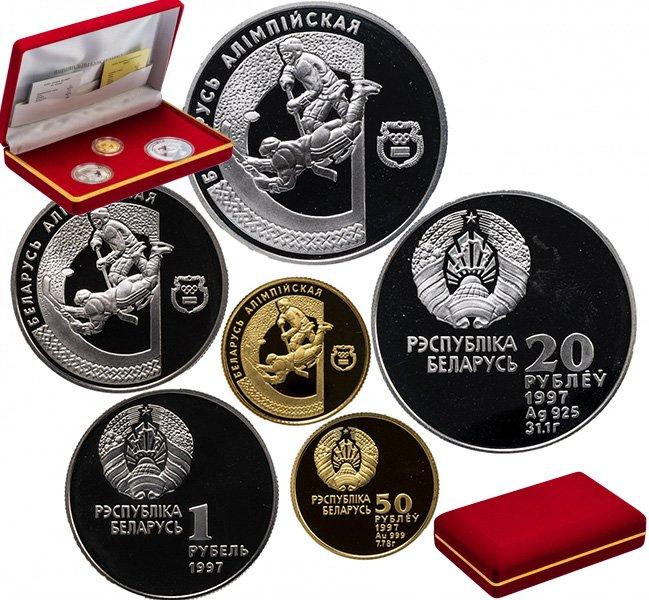 """""""Хоккей"""" - золото, серебро и медно-никель (комплект в подарочном футляре)"""
