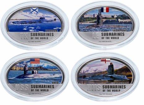 """купить Фиджи набор из 4-х монет 2 доллара 2010 """"Подводные лодки мира"""" в подарочном футляре, с сертификатом"""