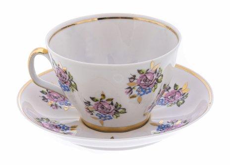купить Пара чайная с цветочным декором, фарфор, деколь, золочение, Рижская фарфоровая фабрика, СССР,  1970-1990 гг.