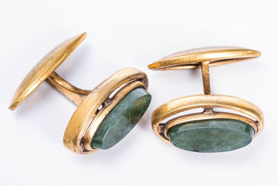 купить Запонки миндалевидной формы со вставками из камня, металл, СССР, 1970-1980 гг.