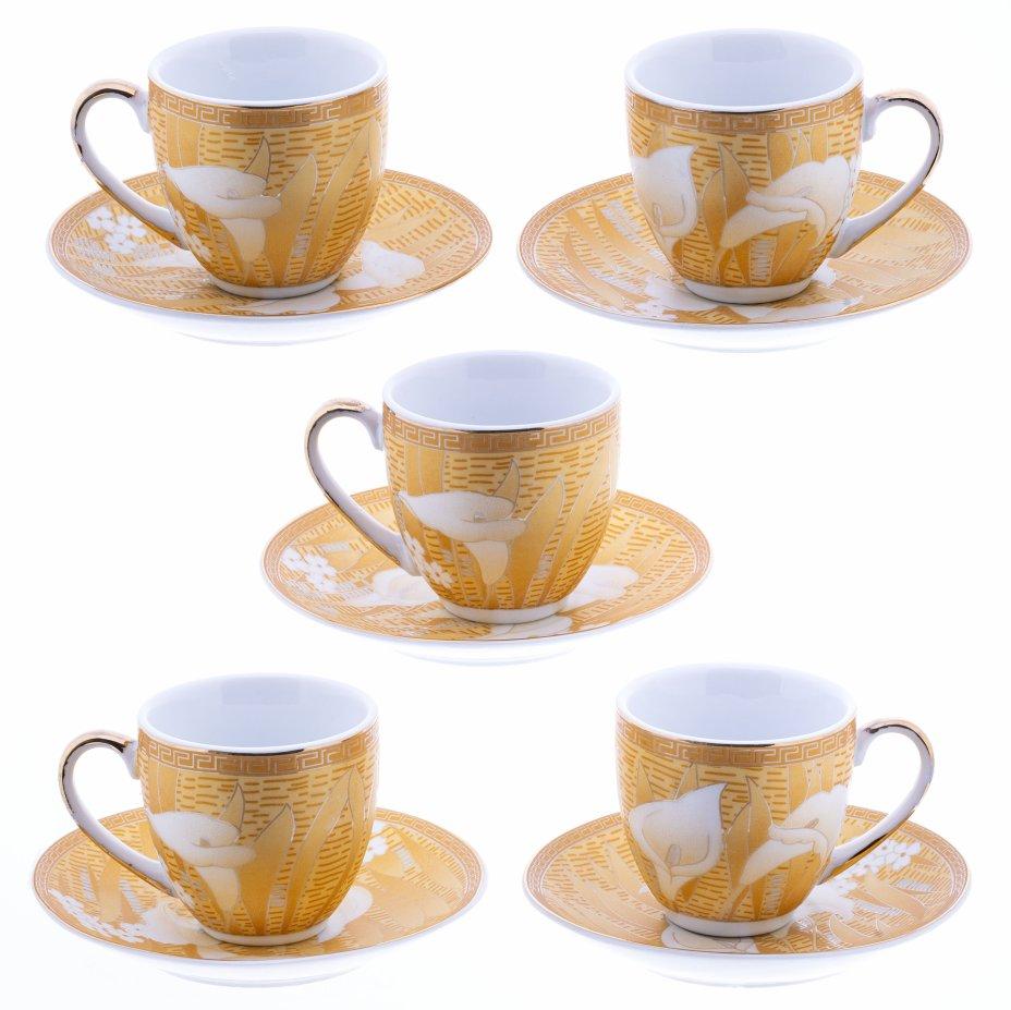 купить Набор кофейных пар с цветочным декором на пять персон, фарфор, деколь, Китай, 2000-2015 гг.