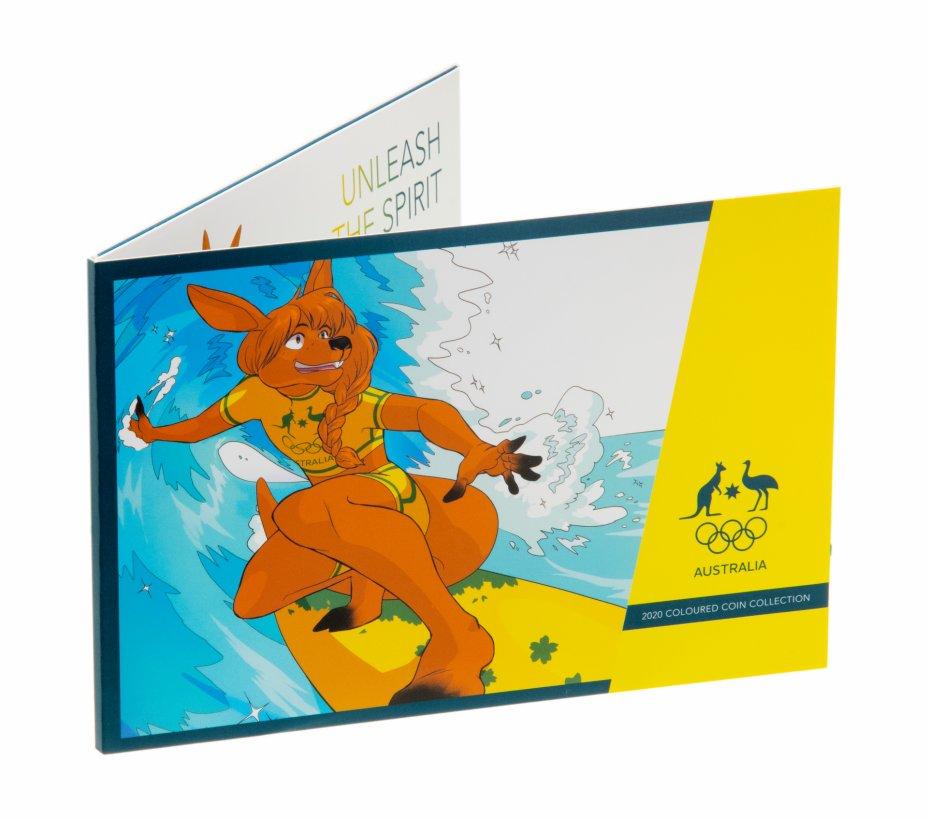 """купить Австралия, набор из 5 монет х 2 доллара 2020 (2021) памятные """"Олимпиада в Токио, Япония"""" цветная эмаль В буклете тип 2"""