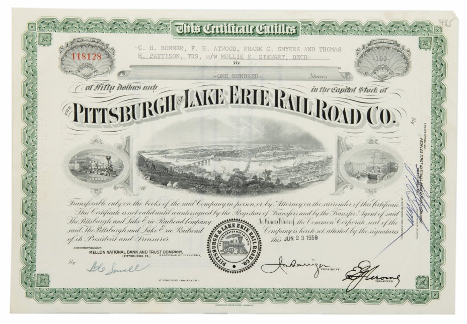 купить Акция США Pittsburgh and Lake Erie Rail Road Company, 1958 г.