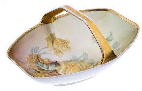 """купить Конфетница с изображением желтых роз, фарфор, деколь, золочение, Германия, мануфактура """"Thomas"""", 1930-1950 гг."""