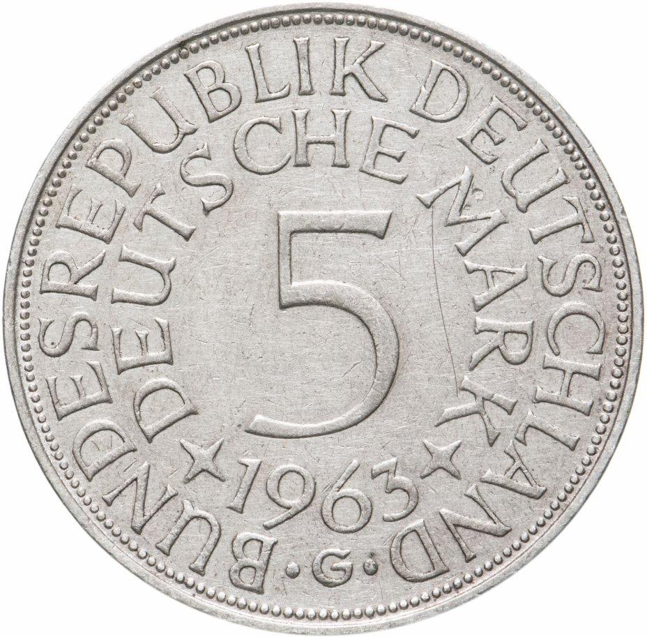 """купить Германия 5 марок, 1963 Отметка монетного двора: """"G"""" - Карлсруэ"""