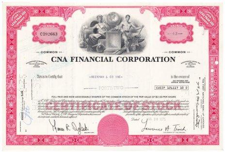 купить Акция США CNA FINANCIAL CORPORATION 1965- 1975 гг.