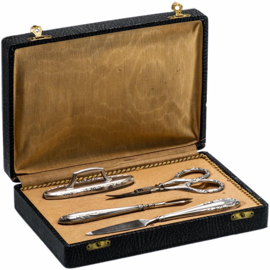 купить Маникюрный набор антикварный из 4-х серебряных предметов в футляре