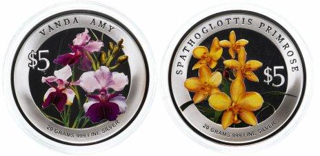 купить Сингапур набор 5 долларов 2009 « Орхидея» из 2 монет