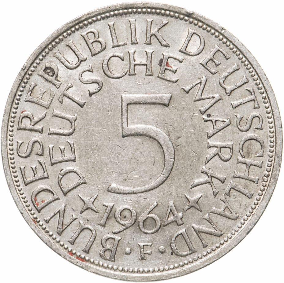 """купить Германия 5 марок, 1964 Отметка монетного двора: """"F"""" - Штутгарт"""