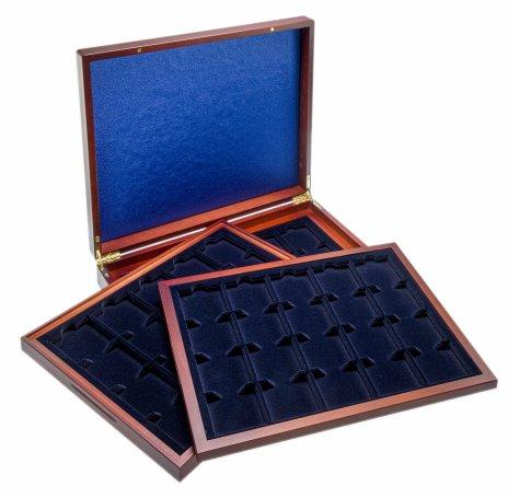 купить Футляр деревянный Volterra Trio de Luxe (331 х 271 х 56 мм) для 60 монет в капсулах «Quadrum» (50х50х6 мм). 3 уровня. Leuchtturm, 304747