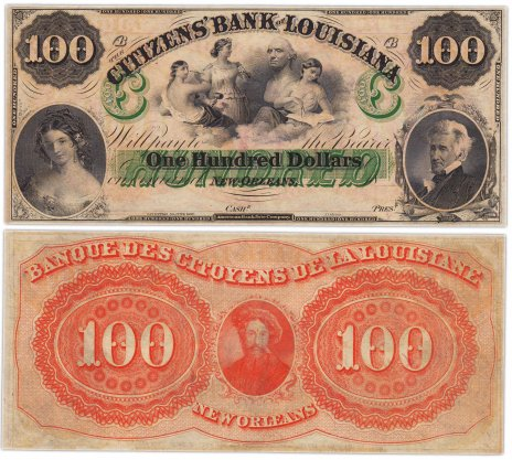 купить США 100 долларов 1857 Луизиана (Citizen Bank Louisiana) Серия B