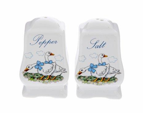 купить Набор из солонки и перечница с изображением гусей, фарфор, деколь, Западная Европа, 1970-1990 гг.