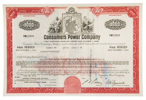 купить Акция США Consumers Power Company 1976 г.