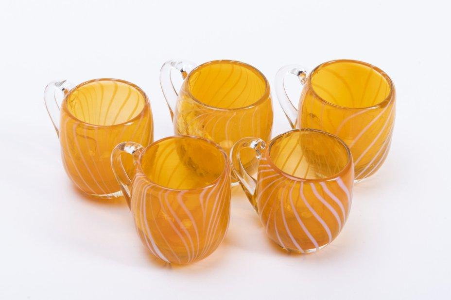 купить Набор из 5 миниатюрных кружек из двуцветного стекла, стекло, СССР, 1970-1990 гг.
