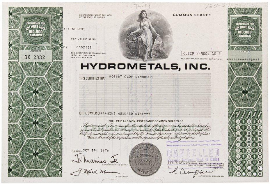 купить Акция США HYDROMETALS, INC. 1976 г.