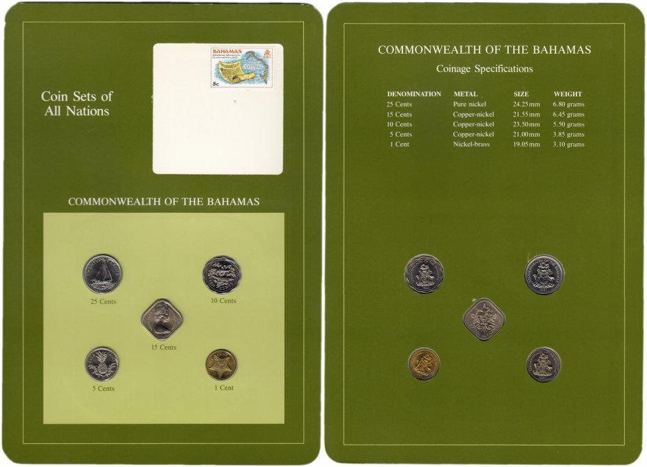 """купить Серия """"Наборы монет всех стран мира"""" - Багамские Острова  (набор из 5 монет и 1 марки в буклете)"""