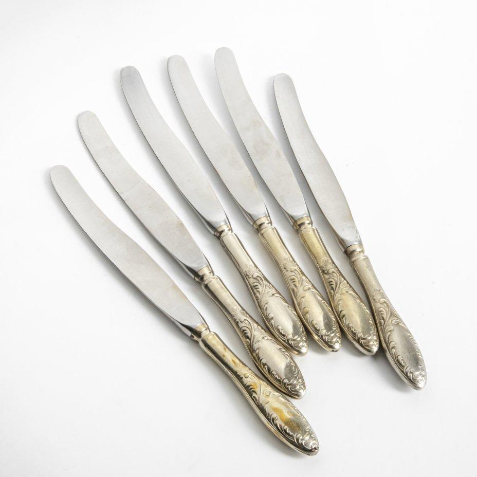 купить Набор ножей с растительным декором на шесть персон, мельхиор, нержавеющая сталь, золочение, СССР, 1970-1990 гг.