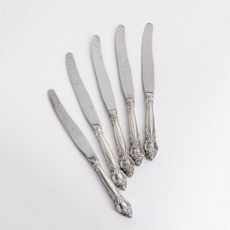 купить Набор из 5 столовых ножей с растительным декором, мельхиор, нержавеющая сталь, СССР, 1970-1990 гг.