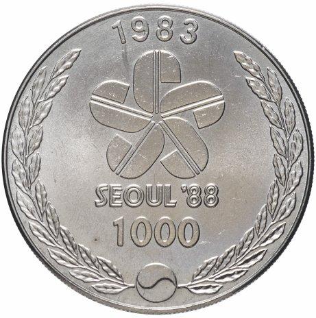"""купить Южная  Корея 1000 вон 1983 """"XXIV летние Олимпийские Игры, Сеул 1988 - Барабанщики"""""""