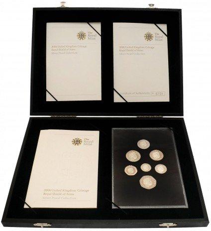 купить Великобритания набор из 7 серебряных монет от 1 пенни до 1 фунта 2008 Proof в боксе с сертификатом