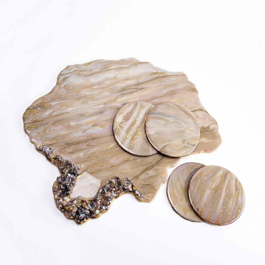 купить Набор для подачи кофе (5 предметов), авторская работа в технике Resin Art, глянцевое 3D покрытие, камень, Россия, 2021 г.