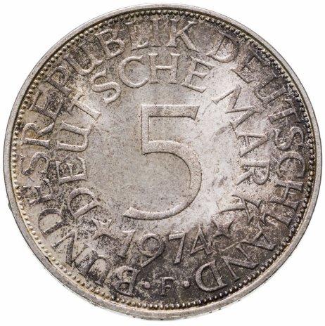 """купить Германия 5 марок (deutsche mark) 1974 F  знак монетного двора: """"F"""" - Штутгарт"""