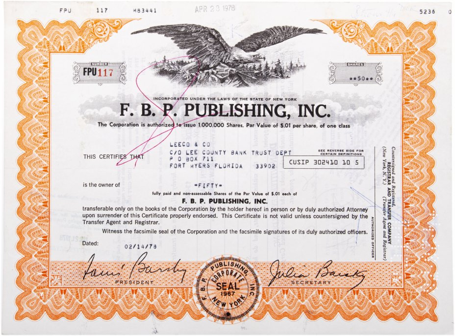"купить Акция США  ""F.B.P. PUBLISHING, INC."" 1978 г."