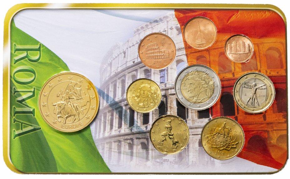 купить Италия 2002 - 2008 набор евро из 8 монет и жетона в пластике с сертификатом