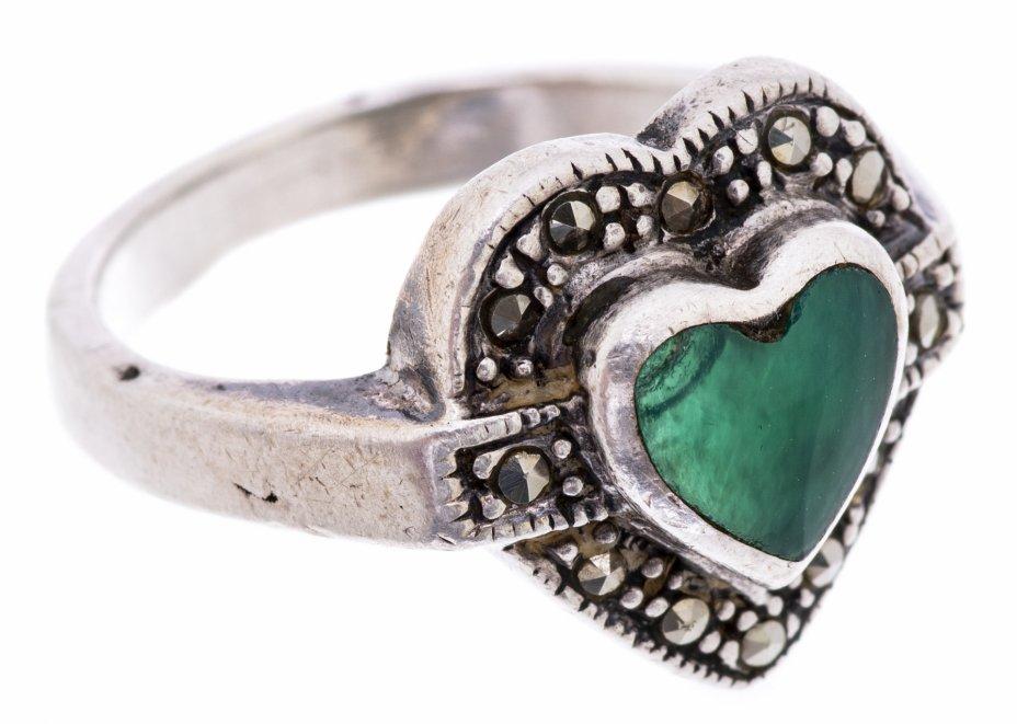 купить Кольцо со вставкой в форме сердечка, серебро 925 пр., вставка бирюзового цвета, СССР, 1970-1990 гг.