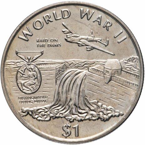 """купить Либерия 1 доллар (dollar) 1997 """"Вторая мировая война"""""""