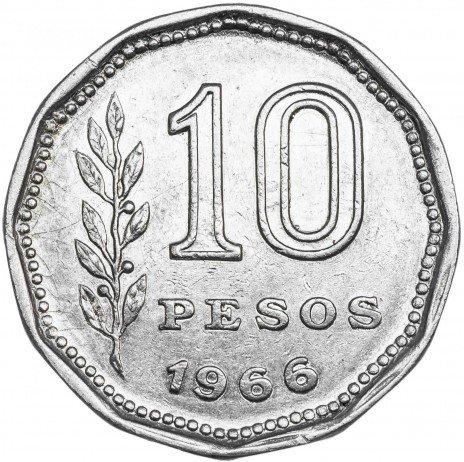 купить Аргентина 10 песо 1966