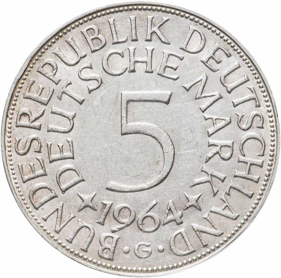 """купить Германия 5 марок, 1964 Отметка монетного двора: """"G"""" - Карлсруэ"""