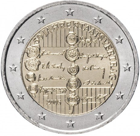 """купить Австрия 2 евро 2005 """"50 лет Австрийскому государственному договору (Декларации о независимости)"""""""