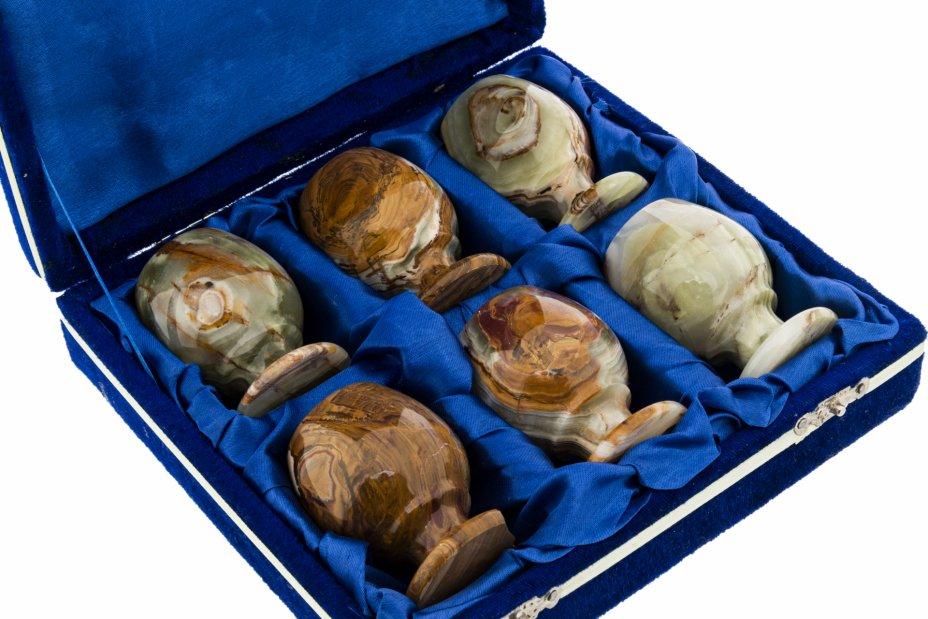 купить Набор для крепких напитков на 6 персон из натурального камня в коробке, оникс, Россия, 1990-2000 гг.