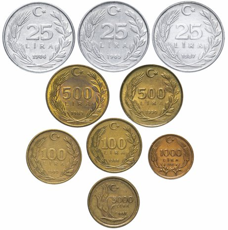 купить Турция набор из 9 монет 1985-1997